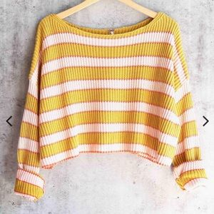Free People Just My Stripe Sweater Medium